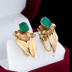 Antique Vintage Art Deco 12k Gold Filled GF Egyptian Onyx Scarab Earrings 4.9g