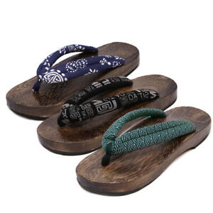 Herren Freizeit Japanisch Geta Clogs Zehentrenner Sandalen Holz Hausschuhe