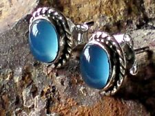 STERLING SILVER 10mm OVAL STUD EARRINGS with CHALCEDONY CABOCHON STONES £14.50