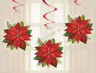 Christmas Xmas Party 3x Poinsettia Joy Red Hanging Decorations Swirl Swirling