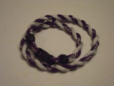 ( Rare Color ) Phiten Tornado Titanium Necklace  ( Purple and White )  18""