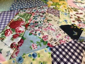 40 PATCHWORK FABRIC SQUARES BUNDLE REMNANTS SEWING CRAFT MATERIAL  Min 20cmx10cm