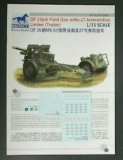 Bronco 1/35th Scale QF 25pdr Field Gun w/Limber Decals from Kit No. CB35046