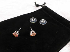 Austrian Crystal 18k White Gold Plated Champagne/Amber Crystal Stud Earrings