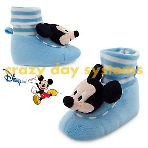 Disney Store Mickey Mouse Plush Baby Slipper Shoes with Bell Sz 7 (18/24 M) Boys