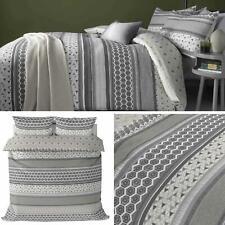 Grey Duvet Covers Geometric Stripes Reversible Modern Quilt Cover Bedding Sets