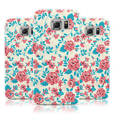 RED TURQUOISE FLORAL PRINT CREAM CASE COVER FOR SAMSUNG GALAXY MOBILE PHONES