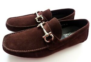 SALVATORE FERRAGAMO Brown Suede Shoes Loafers Size 11 US 45 Euro 10 UK