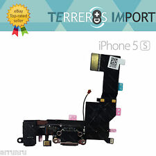 Flex Dock Conector Datos Carga Microfono Auricular Jack iPhone 5S Negro