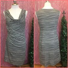 Loft Womens Dress sz M Black White striped sleeveless faux wrap new $69.50 AB7