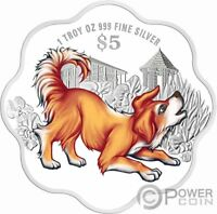 YEAR OF THE DOG Flower Shape Chinese Almanac 1 Oz Silver Coin 5$ Singapore 2018