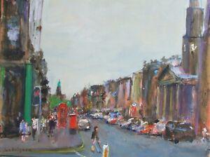 "ORIGINAL MALCOLM LUDVIGSEN ""George Street, Edinburgh"" SCOTLAND CITY PAINTING"