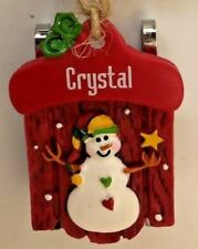 """Red 2"""" Personalized Crystal Snowman Sled Ornament Figurine"""