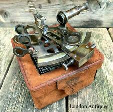 More details for antique brass sextant navigation nautical marine vintage  leather box