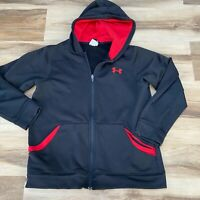 Under Armour Hooded Full Zip Jacket Youth Boys Large Black Red