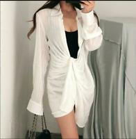 New Womens Soft Cotton Dress Loose Fit Casual Shirt Dress White Wrinkle Fashion