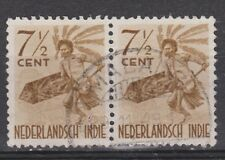 Nederlands Indie 336 pair CANCEL MALANG Netherlands Indies 1948 Inheemse dansers