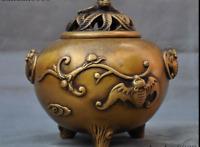"6""Marked Old Chinese Bronze Dynasty Auspicious Bat Statue Incense burner Censer"