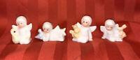 Vintage Christmas Around the World 4 Bone China Angel Ornaments, 1988