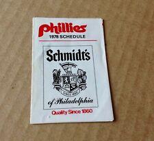 1978 MLB PHILADELPHIA PHILLIES BASEBALL POCKET SCHEDULE BY SCHMIDT'S BEER