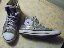 Converse All Stars, Chuck Taylor, silver, size 2, high top, sneaker, athletic