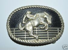 Wow Vintage Black Western Bucking Bronco Rodeo Cowboy Roped Ranch Belt Buckle