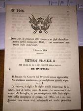 LEGGE X PENSIONI VEDOVE AI FIGLI MILITARI MORTI CAMPAGNA 1866 MATRIMONI NON AUT