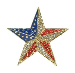 Star pin brooch with red and clear crystals and blue enamel.  Patriotic USA Pin