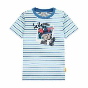 STEIFF T- Shirt Foto - Bär gestreift weiss / blau / türkis  Gr. 92 - 116 NEU