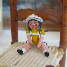 Dollhouse PEWTER GIRL DOLL Vtg Artisan Artist Tiny Jointed Metal