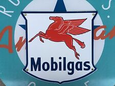 top quality MOBIL GAS diecut SHIELD porcelain coated 18 GAUGE steel SIGN