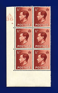 1936 SG459 1½d Red-Brown P3 Block (6) Cyl #8 Dot Ctrl A36 Perf 5(E/I) MMH dhma