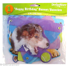 PUPPY PARTY HAPPY BIRTHDAY JOINTED BANNER ~ Pet Dog Playtime Supplies Decoration