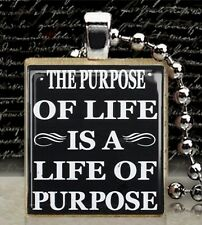 of Purpose Scrabble Tile Pendant Handcrafted Charm The Purpose of Life is a Life