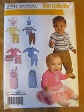 Simplicity 2291 Babies' Pants, Skirt, Body Suit & Bunting