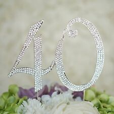 40th Birthday Crystal Rhinestone Cake Topper Anniversary Party Monogram USA
