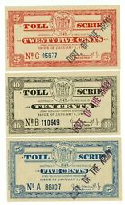 "NJ-Turnpike Toll Script .. 5-25 Cents .. 1955 .. *AU* Stamped ""Deft of the army"""