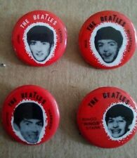 "THE BEATLES BUTTONS, PINS, SEL TAEB - 1964 PINBACKS MINT SET OF 4.   7/8"" ROUND"