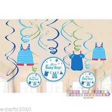 SHOWER WITH LOVE BOY HANGING SWIRL DECORATIONS (12pc) ~ Baby Party Supplies Foil