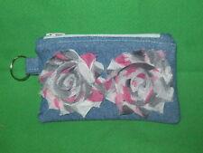 Denim Coin Purse w/ Multi-Color Fabric  Flowers & Key Ring -Handmade