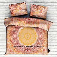 Indian Ombre Mandala Quilt Duvet Cover Queen Bedding Doona Cover Blanket Set