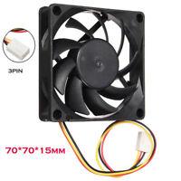 Quiet 7cm/70mm/70x70x15mm 12V Computer Silent Cooling Case Fan 3Pin 25cm Length