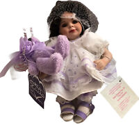 "Marie Osmond Porcelain Doll Baby Annette Tiny Tot 2006 CoA 5"" With Purple Bear"