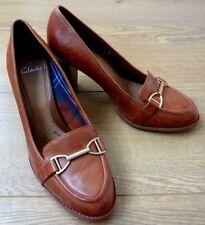 Clarks Plus Ladies Wool Lining Brown Leather Court Heel Shoes UK 7 EUR 41