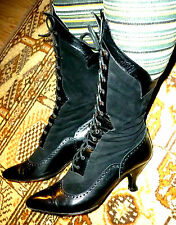 bottines botte PETER FOX gothique, cuir noir victorien 37, black boots UK 4