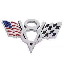 V8 Flag Emblem 3D Metal Chrome Badge Decal Sticker For Chevrolet Corvette Camaro