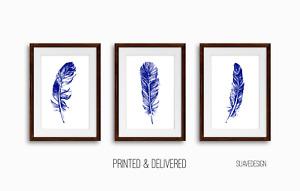 Royal Blue Feather Prints Set of 3 Wall Decor Art Unframed, Minimal Line Art