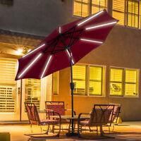 9 FT Patio Solar Umbrella LED Light Tilt Deck Waterproof Garden Market Beach Red