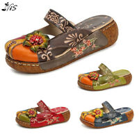 SOCOFY Women Backless Shoes Colorful Leather Slippers Hollow Out Flower Sandals