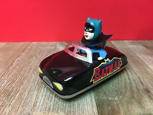 Vintage Friction Tin Toy Batmobile Custom Made Aoshin Repro Head and Stickers
